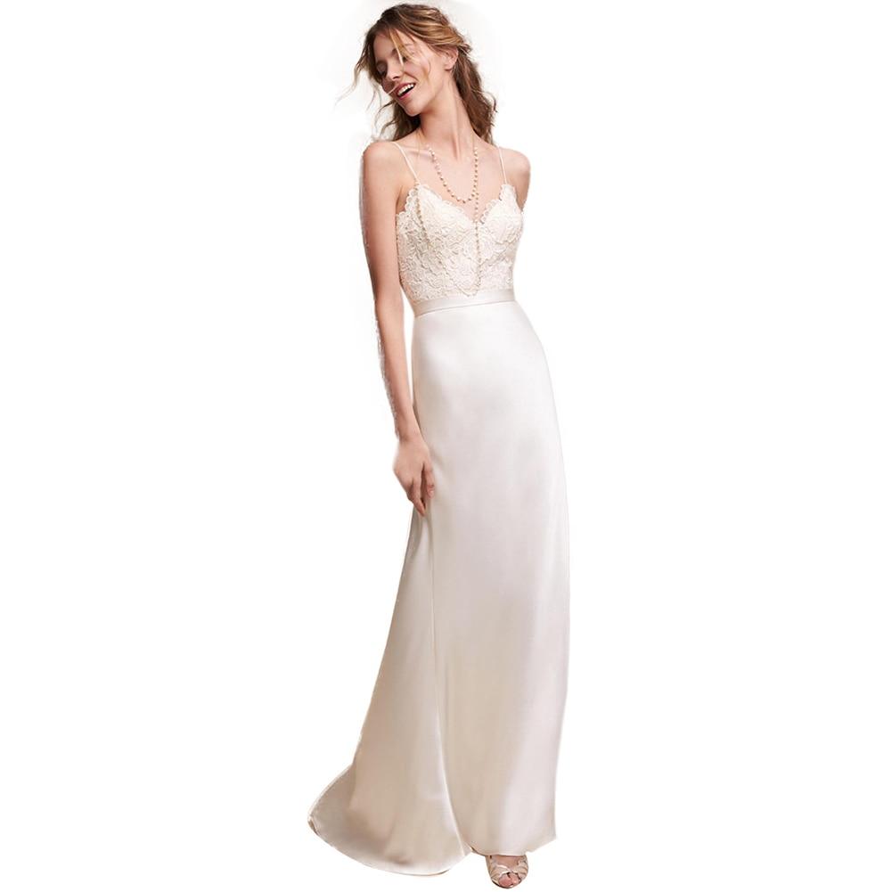 Banquet solide licou Slim dentelle été fronde élégante mode femmes robe de mariage voyage Long blanc