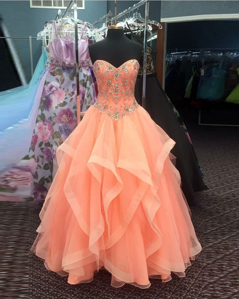 Ruby Bridal Vestidos Quinceanera Long Orange Organza Beaded Quinceanera Dresses Girl Party Prom Dresses PW952