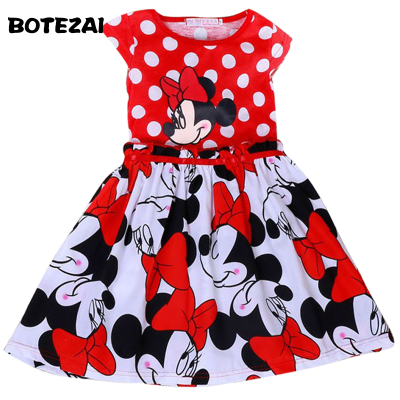 2017 new girl summer cartoon dress kids clothes girl Minnie printing dot sleeveless dress baby girls fashion dresses princess baby girl dress minnie mouse dress printing dot sleeveless party dress girl clothes fashion kids baby costume