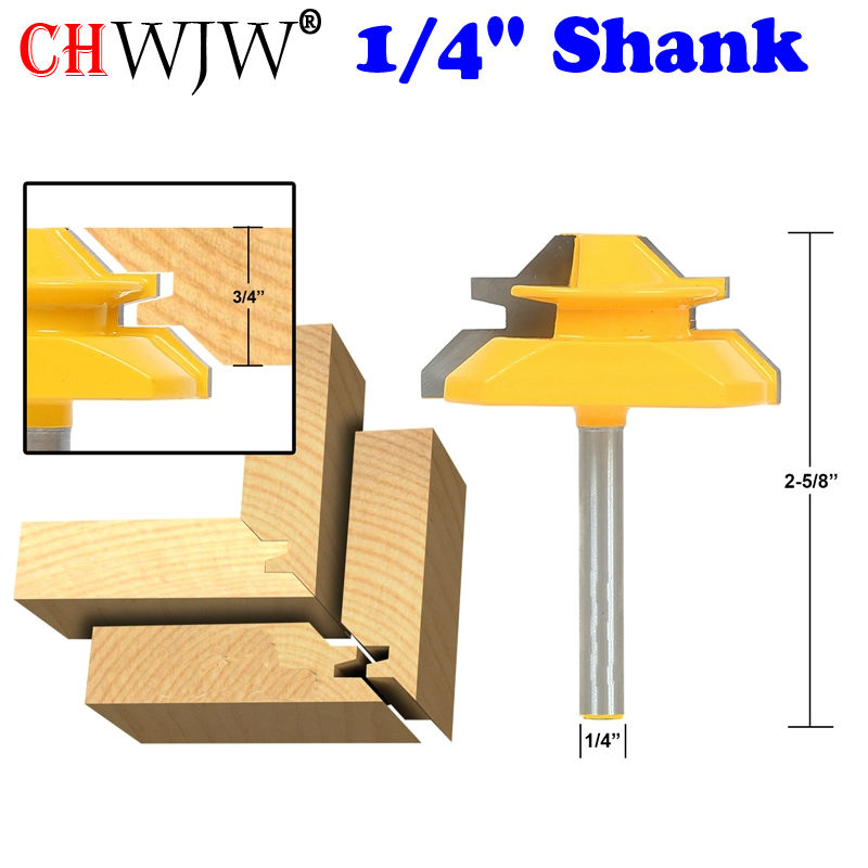 Medium Lock Miter Router Bit - 45 Degree - 3/4 Stock - 1/4 Shank Tenon Cutter for Woodworking Tools- Chwjw 15127qMedium Lock Miter Router Bit - 45 Degree - 3/4 Stock - 1/4 Shank Tenon Cutter for Woodworking Tools- Chwjw 15127q