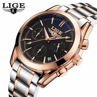 LIGE Top Luxury Brand Watch Men Full Steel Military Quartz Sports Watches Men S Casual Wrist