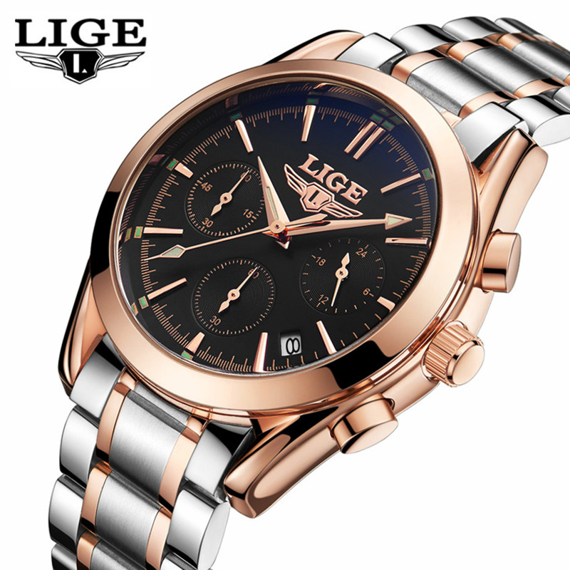 LIGE Top Luxury Brand Watch Men Full Steel Military Quartz Sports Watches Men's Casual Wrist Watch Clock Male Relogio Masculino xinge top brand luxury leather strap military watches male sport clock business 2017 quartz men fashion wrist watches xg1080