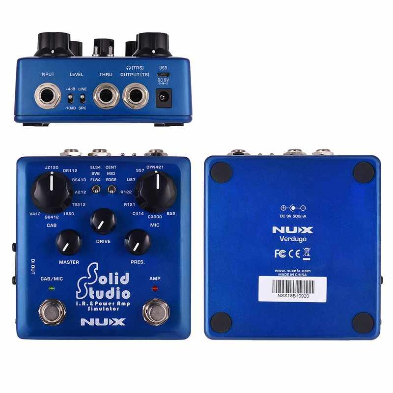 NUX Solid Studio IR Power Amp Simulator Guitar Multi Effects Pedal Dual  Footswitch Built-in 8 Cabinet 8 Microphone True Bypass