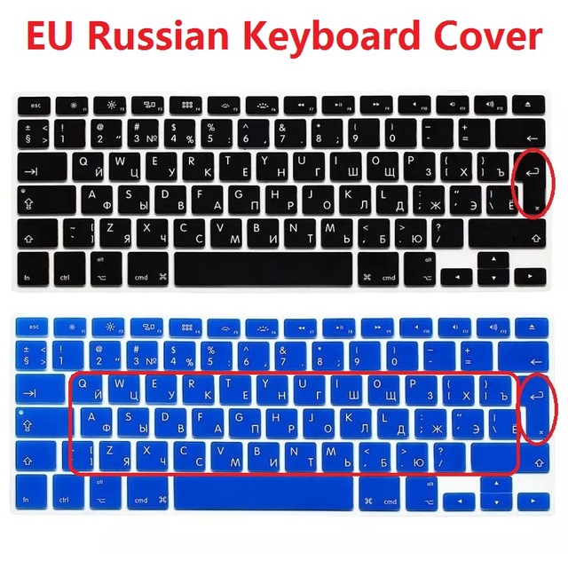 Russian Letters Keyboard Protector for MacBook Air Pro Retina 13 15 17 Laptop Skin Covers for Mac Book 13 15 Us Version-Red