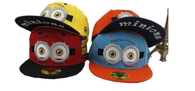 Despicable Me Minions sombreros niños gorras de béisbol adorables ojos niños  grandes ojos 3D de dibujos 07610cad43c