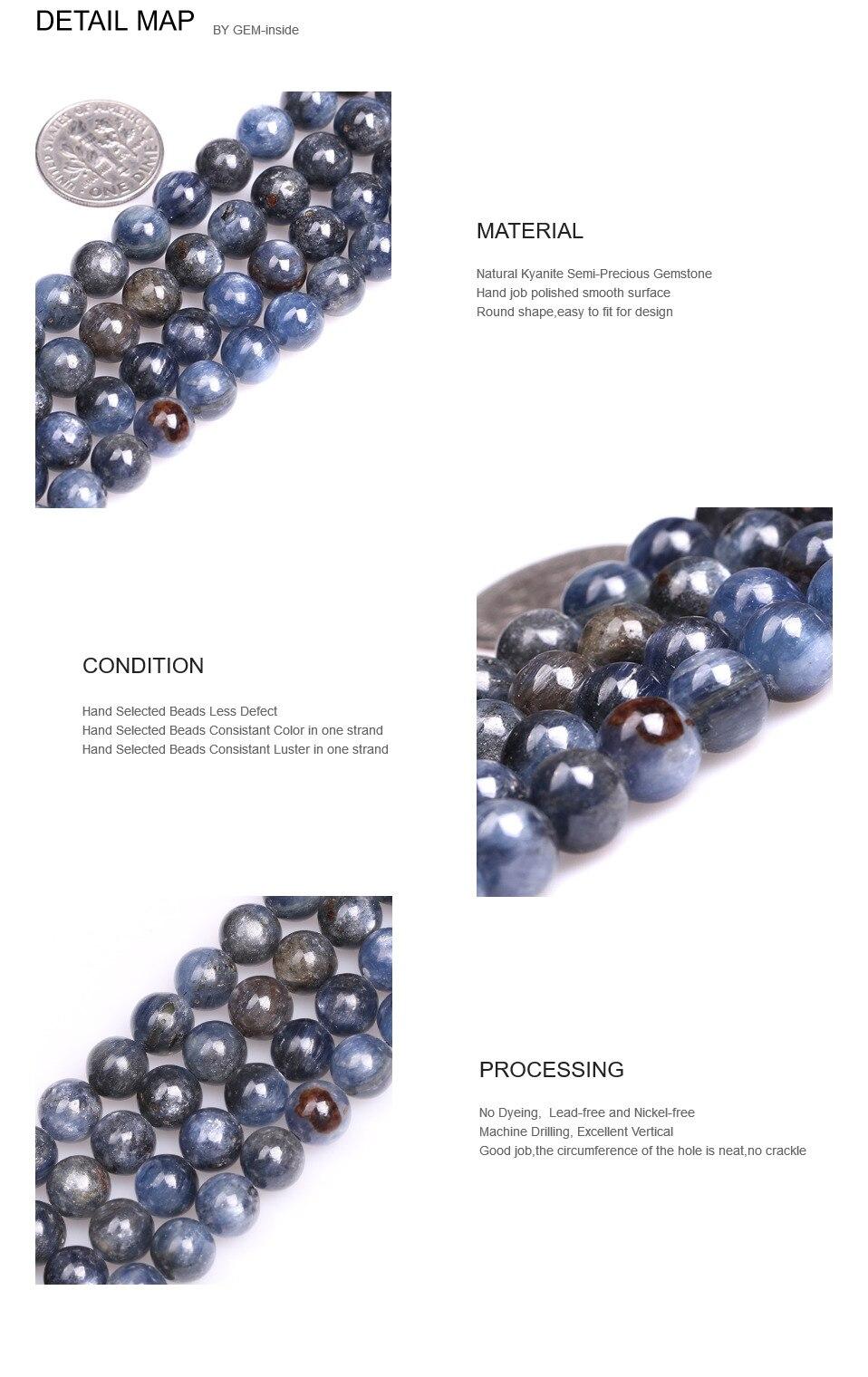 """Натуральный Камень Круглый Синий Кианит бусины для изготовления ювелирных изделий нить 1"""" DIY браслет ожерелье свободные бусины 4 мм 6 мм 8 мм 10 мм 12 мм"""