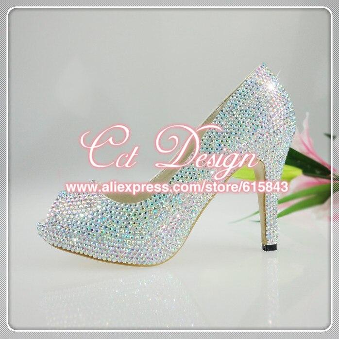 2017 Fashion women's crystal rhinestone shoes platform shoes bride wedding shoes bridesmaid high heels pumps