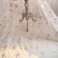 5 metri morbido tulle tessuto di pizzo da yard con rosa viola ricamo stella per veli da sposa abito da sposa abito