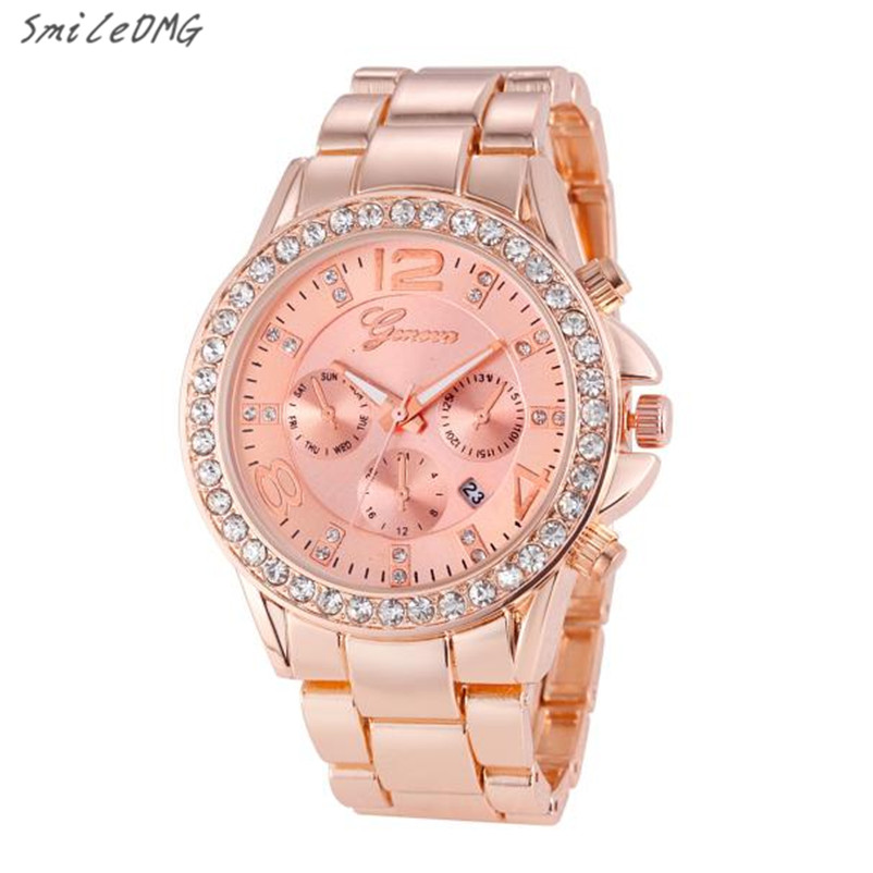 SmileOMG Hot Watch HOT Luxury Geneva Watch Women's Date Stainless Steel Quartz Analog Wristwatch Gift ,Sep 12 smileomg hot sale fashion women crystal stainless steel analog quartz wrist watch bracelet free shipping christmas gift sep 5