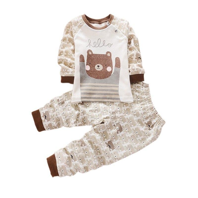 Cute Cartoon 2pcs Infant Baby Boys And Girls Long Sleeve Shirt+Pants Toddler Pajamas Set Sportsuit 0-4Y
