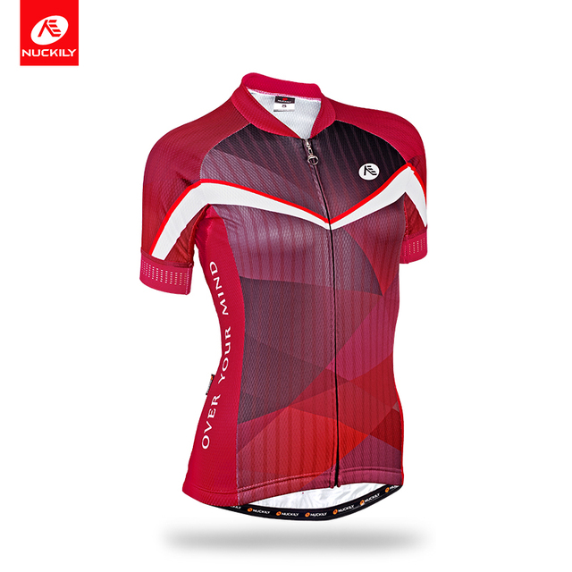 NUCKILY Summer Elegance Design Cycling Wear Women s Short Sleeves Bicycle  Jersey Reflective Piping Bike Top GA012 71acb3309