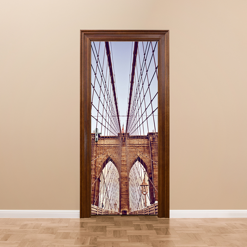 3D Stickers New York Brooklyn Bridge DIY Door Sticker Wallpaper Wall Sticker Imitation Bedroom Living Room Barhroom Home Decor flower bridge river pattern 3d wall art sticker