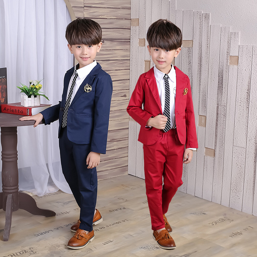 Children Formal Blue Blazers 2017 Kids Boys Red Blazer Single Breasted Kids Jacket+Pants Clothes Suit for Weddings Party EB092 2016 new arrival fashion baby boys kids blazers boy suit for weddings prom formal wine red white dress wedding boy suits