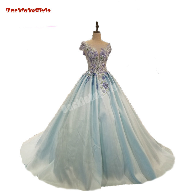 Off The Shoulder O-neck Light Blue A-line Prom Dresses Long Applique Lace Matte Satin Long Sleeves Evening Gowns Customized
