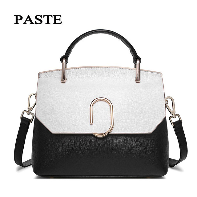 PASTE Autumn New Women Real Leather Messenger Bag Handbags Flap Casual Tote  Paperclip Style Ladies Small Bag White High Quality dafb5ed2f77b7