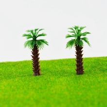 Teraysun 500pcs 4cm Model Miniature scale Palm Tree for Architecture Plastic Coconut model sea scenery