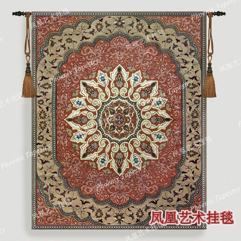 Exquisito tapiz colgante de pared decoración tejida de la casa textil de la vendimia tamaño grande 162*130cm tela de algodón medieval de jaauard H155