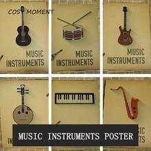Cosy moment clásico música instrumentos vintage cartel folk música piano bajo violín trompeta decoración de pared pintura QT371