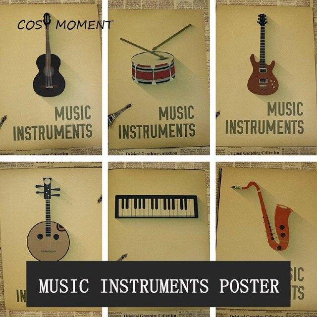 Przytulny Moment Klasyczne Instrumenty Muzyczne Vintage Plakat