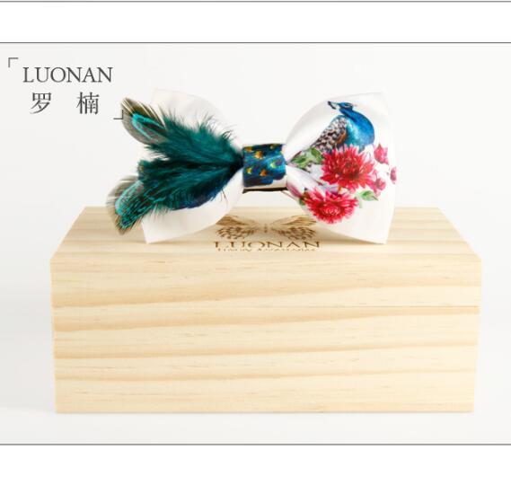 Men Wedding Tie Green Peacock Feather Bow Tie Wooden Bow Tie