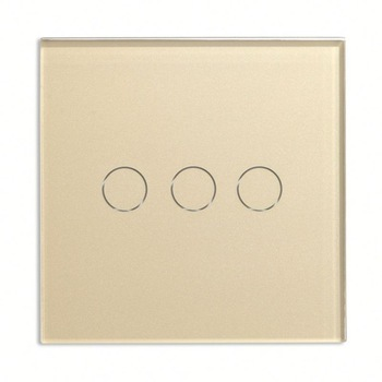 Bseed 240v Touch Switch 3 Gang 1 Way Light Touch Switch With Glass Panel Gold Touch Wall Switch Eu Uk Us Au smart home eu touch switch wireless remote control wall touch switch 3 gang 1 way white crystal glass panel waterproof power