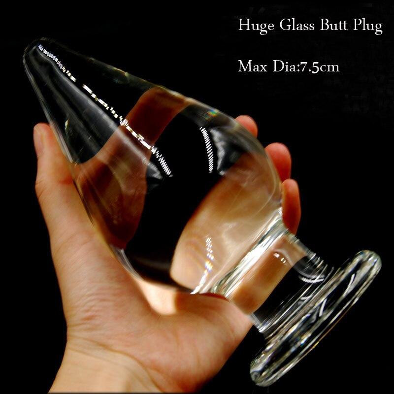 Grande Plugue Anal Tamanho 16 cm * 7.5 cm Super Grande Butt Plug Anal Dildo de Vidro Cristal Transparente, enormes Brinquedos Do Sexo Anal Para A Mulher Dos Homens.