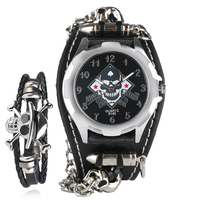 Trendy Bullet Chain Wrist Watch Skull Cuff Punk Quartz Watches Mens Leather Band Clock With Steampunk