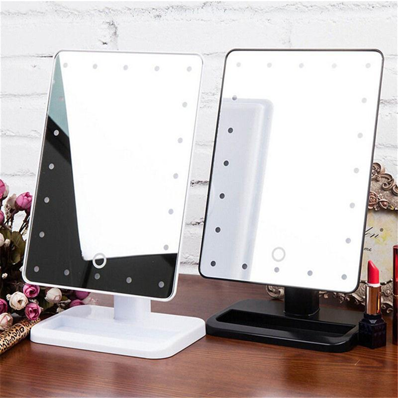 Rectangular 20 Led Lighted Vanity Mirror Table Lamp Touch