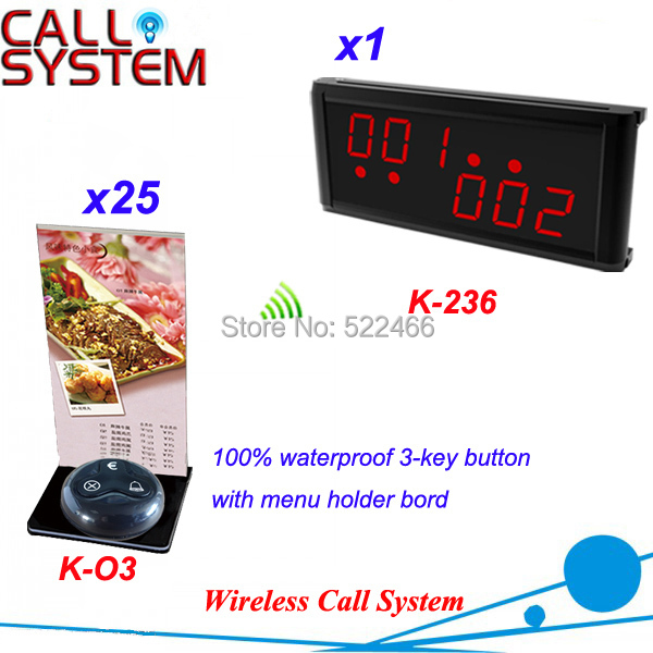 Service Call Bell System for restaurant coffee shop with 25 call buttons and 1 display receiver, DHL shipping free