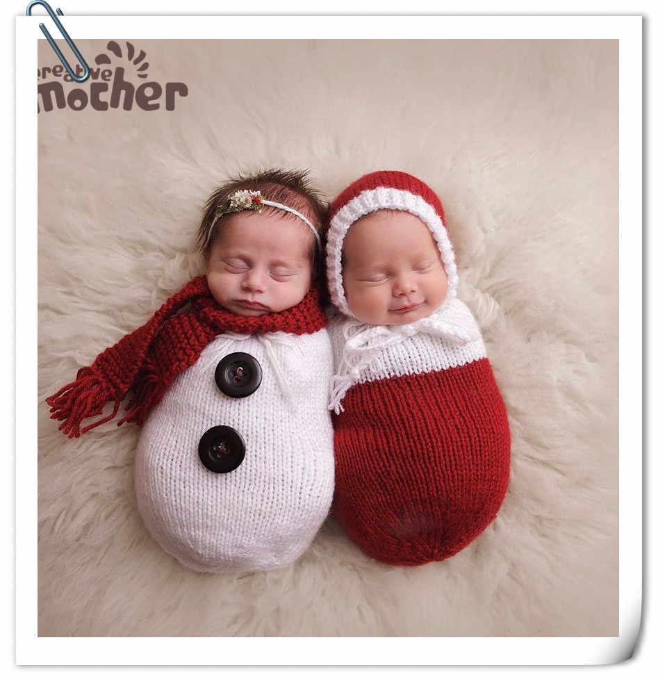 e1df18178503c Newborn Boys Girls Photography Props Crochet Knitting Costume Christmas  Snowman Hat+Sleeping Bag Studio Baby