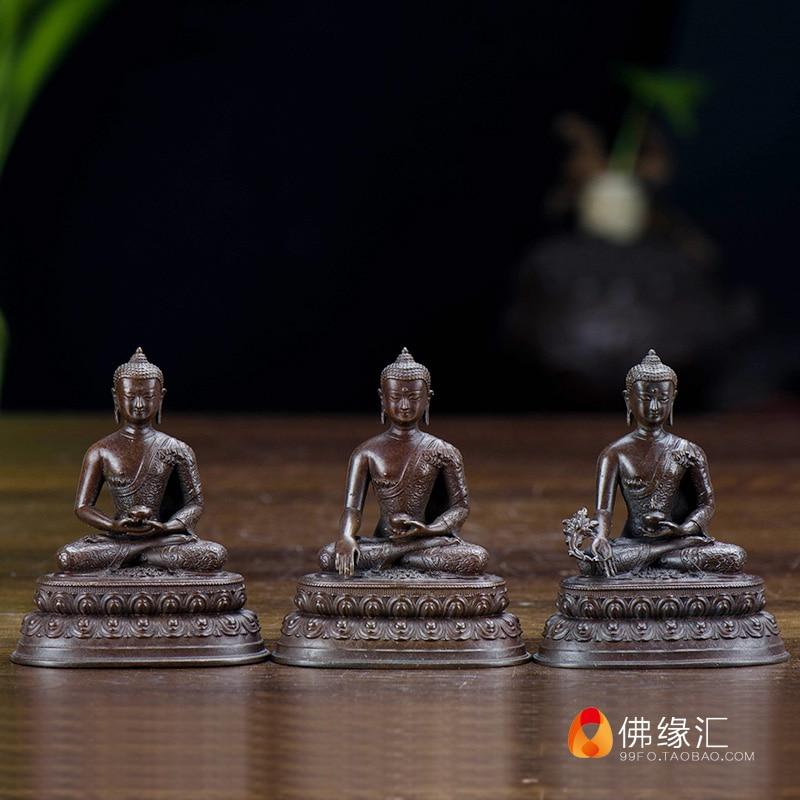 Tibetan Buddhism /Taiwan Tantra Buddha figurines 7 cm pure bronze carry on Buddha/Amitabha/pharmacist Buddha/Sakyapha /3 in1