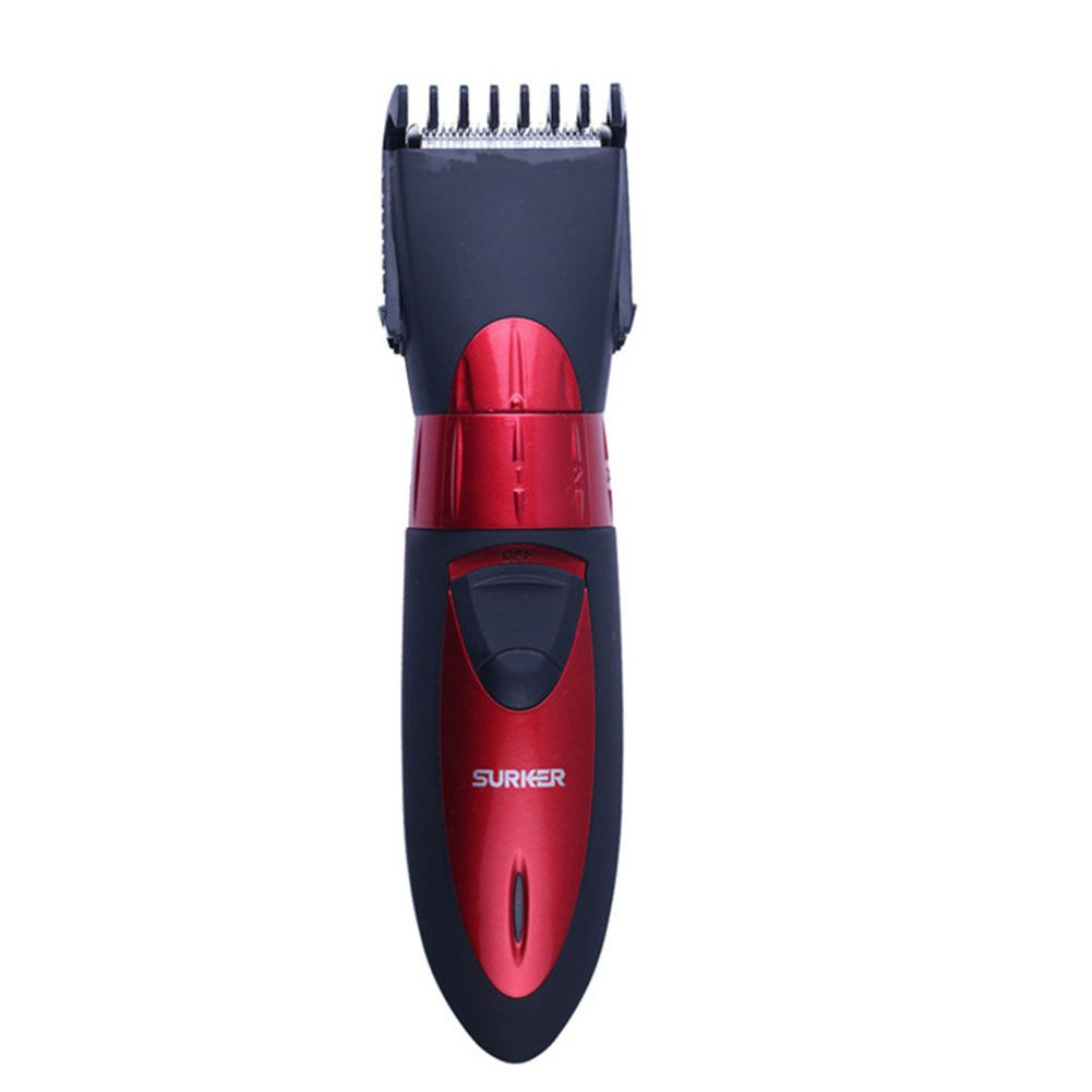 SURKER Professional Electric Hair Clipper Rechargeable waterproof Red Trimmer Adjustable Haircut Machine For Men & Children HC new surker hc 575 rechargeable silent electric trimmer hair trimmer led display electric fader haircut machine with eu plug