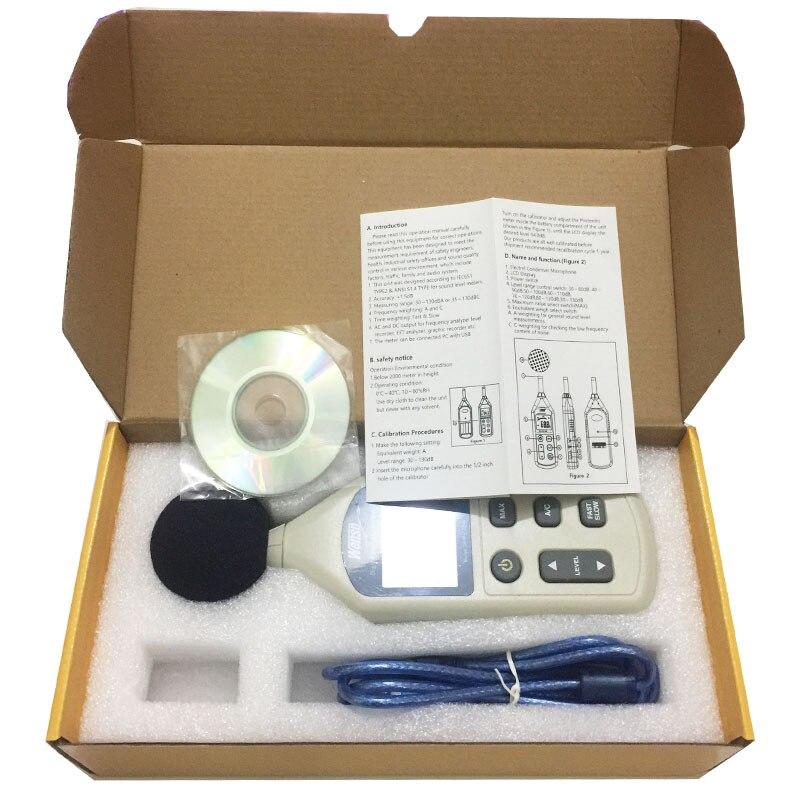 WS1361C sonomètre numérique, décibels, sonomètre numérique LCD 30-130db USB + avec carte SD - 5