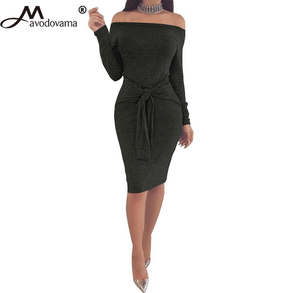 Avodovama M Long Sleeve Belt Sexy Bodycon Dresses Slim Slash Neck Women Knitted Dress