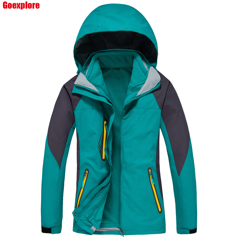 Dropshipping 2016 Brand 2in1 Two-Piece Jacket Climbing Sports Coat Outdoor Windproof Ski waterproof winter jacket women nianjeep brand winter jacket men outdoor waterproof windproof sports ski hight quality coat camping hiking climbing outwear