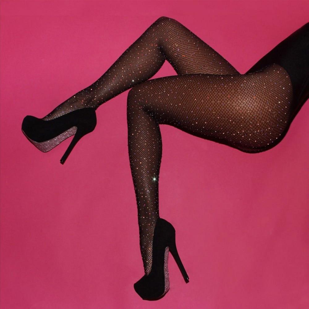 Plus Size Ladies Rhinestone Tights 2018 Summer Women Fishnet Mesh Pantyhose Seamless Fish Net Black Nylon Stocking Collant Femme