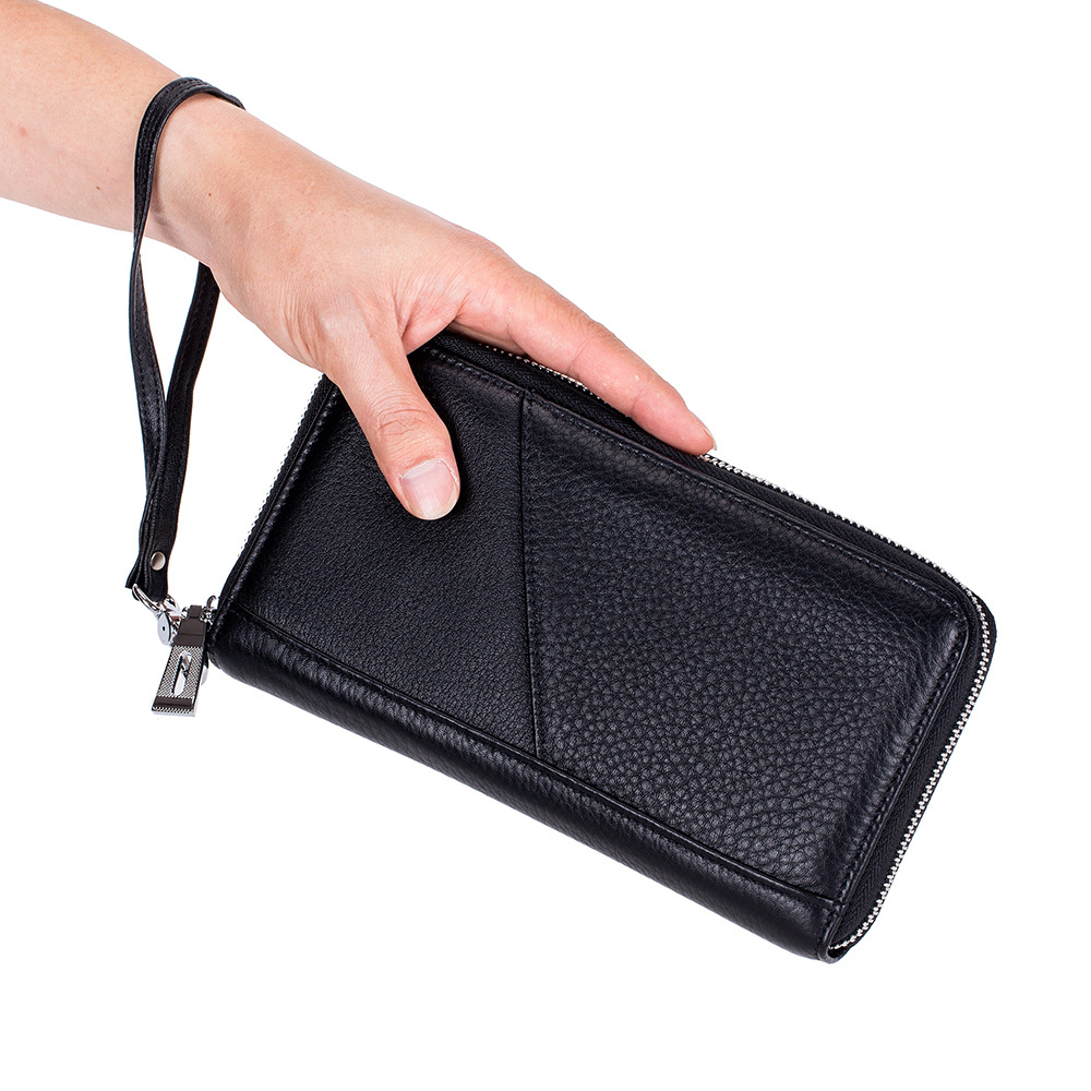 Rfid Genuine Leather Wallet Women And Men Business Clutch Wallet Wristband Passport Cover Wallet Boarding Purse Card Holders in Wallets from Luggage Bags