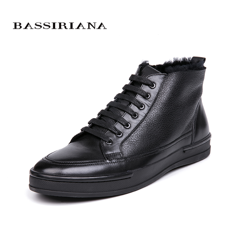 BASSIRIANA winter new men s shoes warm natural leather men s shoes color black size 39