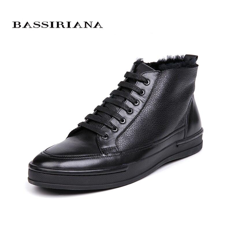 BASSIRIANA hiver nouvelles chaussures pour hommes chaud naturel en cuir hommes chaussures de couleur noir taille 39-45