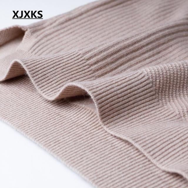 XJXKS Solid color 2019 pull femme hiver sweater women fashion style maglioni donna split hem korean women long sweater