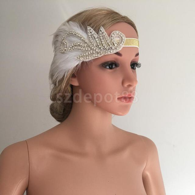 1920s Great Gatsby White Feather Fascinator Headpiece Flapper Headband  Crystal Elastic Gold Band Bridal Fancy Dress 0ab57bbe156
