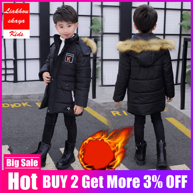 Kids Boys Winter Jacket For Teenage 2019 New Fur Hooded Long Coat Parka Thicker Cotton -30 Russia Overcoat Clothes For Children(China)