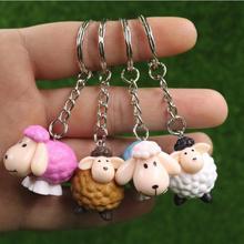 Sheep Keychain Bag Car Key Chain Cute Animal Pendant Figure Keyring Birthday Gift 4 Colors Mix 24pcs/lot wholesale High Quality