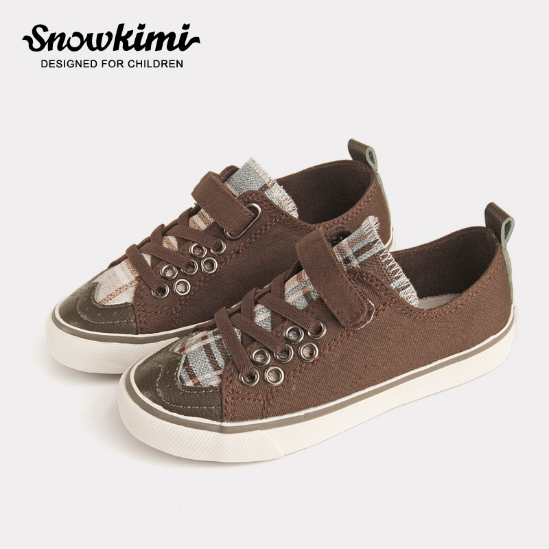 все цены на 2018 Autumn Hot Sale Boy And Gril Canvas Shoes Gingham Low Bottom Latex Insole Vulcanized Breathable Hook & Loop Free Shipping