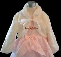 Baby Infant Winter Wedding Party Warm White Ivory Flower Girl Faux Fur Cape Long Sleeves Thick