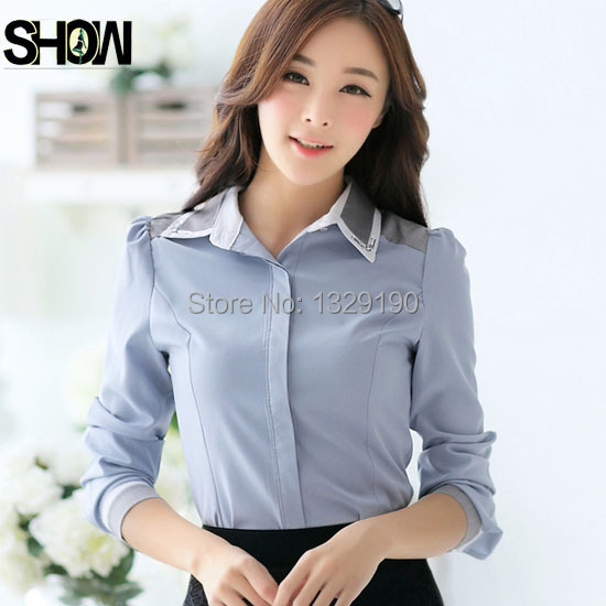 Free Shipping Autumn Winter Basic Office Wear On Down Shirts For Women Elegant Long Sleeve