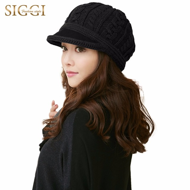 FANCET Women 100% Wool Knitted Newsboy Hats Visor Solid Autumn Winter Beret  Cap Fashion Warm Gorras Planas Female Lady 68261 54db10031588