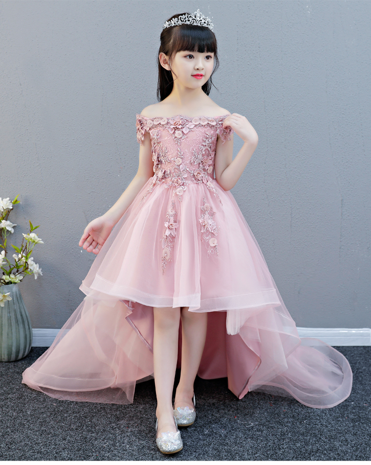 2ae25aeb04bec Off Shoulder Appliques Flower Girl Party Dress Pageant Gown High Low  Princess Wedding Ball Gown Kids First Communion Dresses
