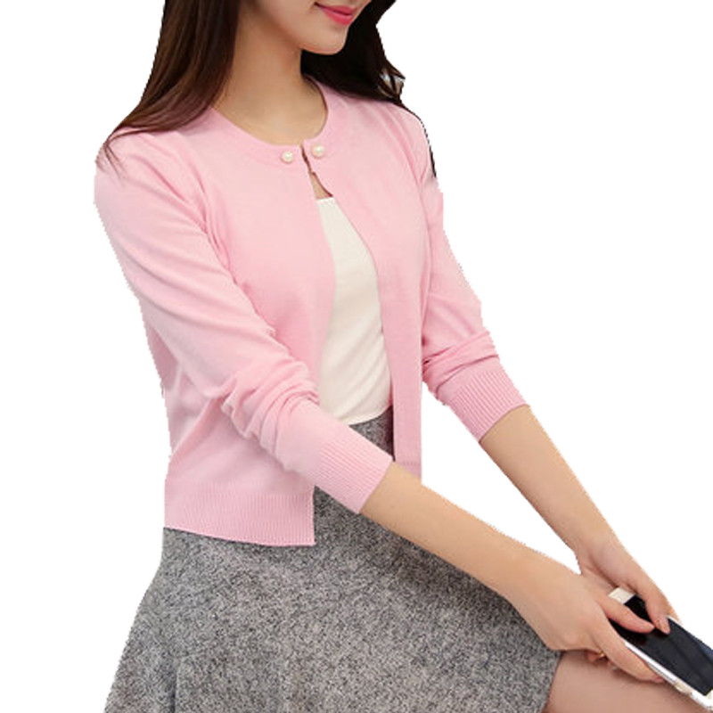 2018 High Quality Spring Autumn Sweater Women Cardigan Solid Color One Button S Cashmere Zy825