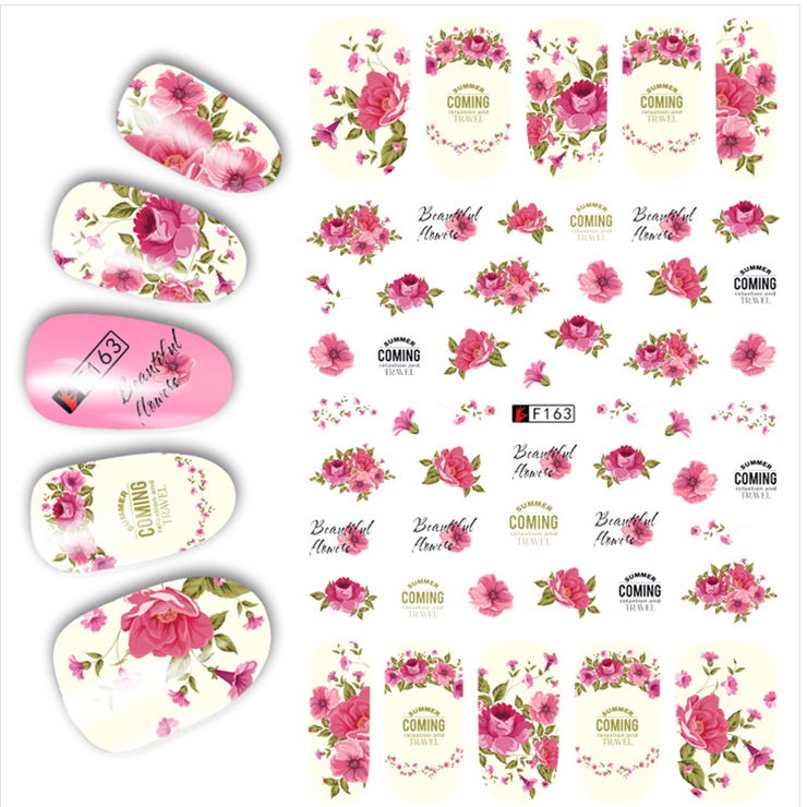 1pcs 3D Super Thin Nail Stickers Tips Nail Art Adhesive Decals Manicure Decoration Flowers Roses Nail Wraps F163 50 sheets 3d nail art stickers decals high quality mix color flowers design nail tips decoration tools